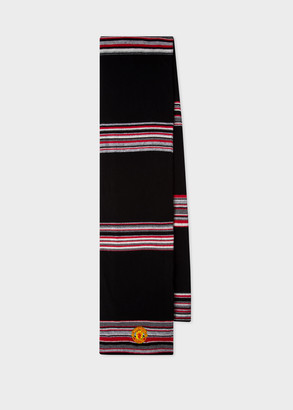 Paul Smith & Manchester United Black Striped Wool-Cashmere Scarf