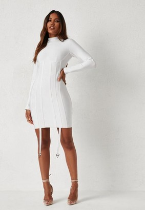 Missguided Dani Michelle X White High Neck Harness Bandage Mini Dress