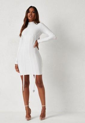 Missguided Michelle x White High Neck Harness Bandage Mini Dress