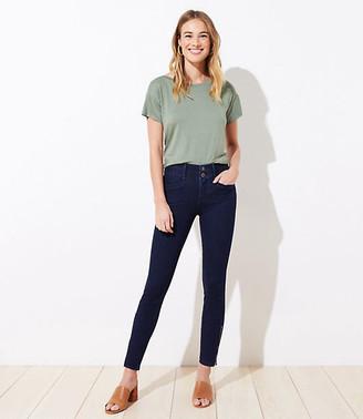 LOFT Petite Ankle Zip Slim Pocket Skinny Jeans in Refined Dark Indigo Wash