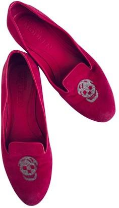 Alexander McQueen Pink Velvet Flats