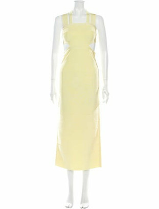 Herve Leger Square Neckline Long Dress w/ Tags Yellow