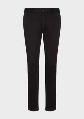 Emporio Armani Chinos In Stretch, Dyed Satin