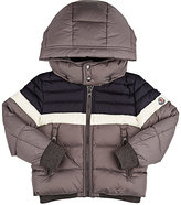 Moncler Aymond Striped Down-Quilted Coat-GREY