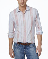 Tasso Elba Men's Big and Tall Vertical-Stripe Long-Sleeve Linen-Blend Shirt, Only at Macy's