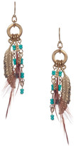 Sparkling Sage Detailed Bead & Feather Drop Earrings