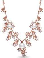 Laura Ashley 7mm Cultured Pearl and 7/9 CT TW Sapphire Rose-Plated Silver Necklace