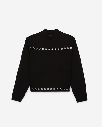 The Kooples Black formal wool sweater with eyelets