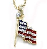 Charm & Chain USA US American Flag Star Pendant Necklace Memorial Day Veteran's Day 4th of July Independence Day Celebration Red White Blue Enamel Charm Chain Gold Tone Ladies Women Fashion Jewelry
