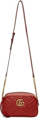 Gucci Red Small GG Marmont 2.0 Camera Bag