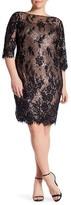 Marina 3/4 Sleeve Lace Overlay Dress (Plus Size)