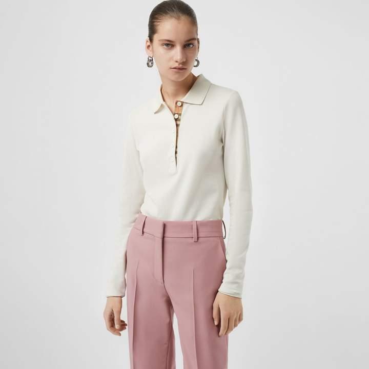 Burberry Long-sleeve Check Placket Cotton Pique Polo Shirt