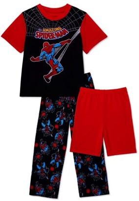 Spiderman Boys Super Soft Short Sleeve Top, Long Pants & Shorts, 3-Piece Pajama Set, Sizes 4-10