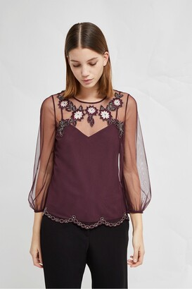 French Connection Alysse Floral Embellished Blouse