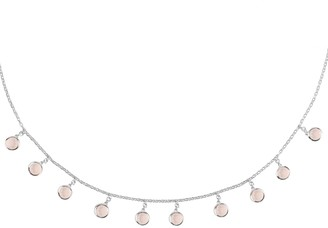Latelita Florence Round Gemstone Necklace Silver Rose Quartz