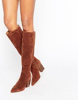 Asos CARINA Suede Pointed Slouch Knee High Boots