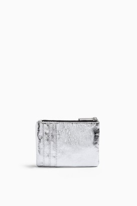 Topshop EASY Silver Quilted Zip Mini Purse