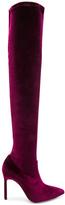Manolo Blahnik x Jonathan Simkhai Velvet Pascalarehi Boots in Red.