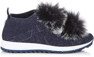 Jimmy Choo NORWAY Navy Knit and Lurex Trainers with Navy Faux Fur Pom Poms