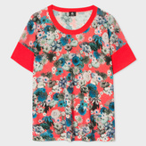 Paul Smith Women's Coral 'Ocean Floral' Print Knitted Wool Top