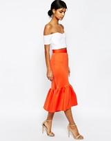 Asos Scuba Midi Skirt with Tiered Hem