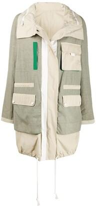 Yves Salomon Army Colour Block Rain Coat