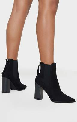 PrettyLittleThing Black Suede Point Toe Block Heel Chelsea Ankle Boot