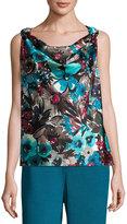 St. John Silk-Blend Cowl-Neck Floral-Print Top, Blue Pattern