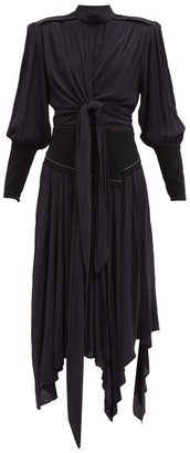 Proenza Schouler Handkerchief-hem Crepe Dress - Navy Black