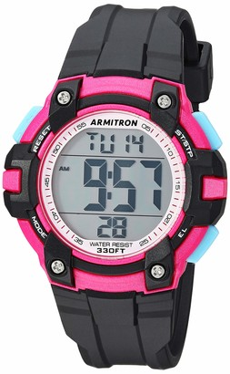 Armitron Sport Women's 45/7108PBK Magenta Accented Digital Chronograph Black Resin Strap Watch