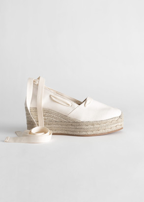 And other stories Lace Up Espadrille Wedges