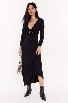 Nasty Gal Womens Shout Cut-Out to My Ex Tie Midi Dress - black - 8