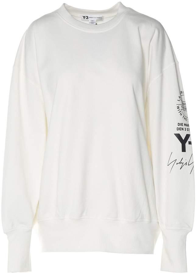 Y-3 Logo-print Cotton-jersey Oversized Sweatshirt