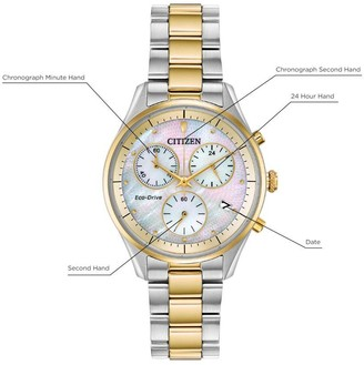 Citizen Eco-Drive Mother of Pearl and Gold Detail Chronograph Dial Two Tone Stainless Steel Bracelet Ladies Watch