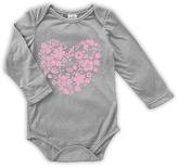 Urban Smalls Pink Floral Heart Long-Sleeve Bodysuit - Infant