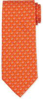 Salvatore Ferragamo Sailboat-Printed Silk Tie, Orange