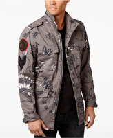 GUESS Men's Irwell Feather Graphic-Print Jacket