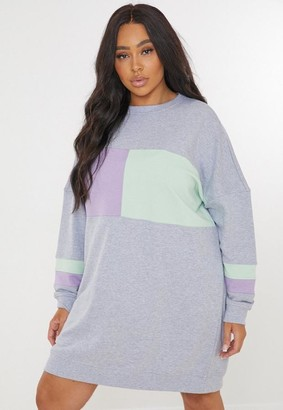 Missguided Plus Size Gray Colorblock Sweater Dress
