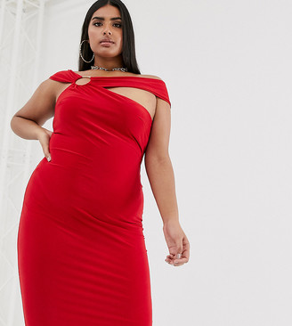 Club L London Plus midi bodycon dress with hardware back detail in red