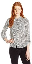XOXO Women's Tara Polka Dot Print Button-Front Shirt