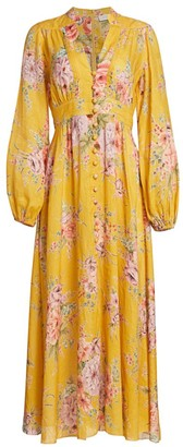 Zimmermann Zinnia Linen Maxi Puff-Sleeve Dress