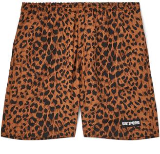 Wacko Maria Logo-Appliqued Leopard-Print Shell Shorts