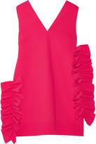 MSGM Ruffled Crepe Mini Dress - Red
