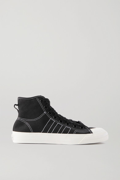 adidas Nizza Topstitched Canvas High-top Sneakers - Black