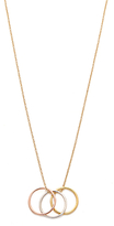 Dogeared Mixed Metal Triple Karma Ring Pendant Necklace, Gold