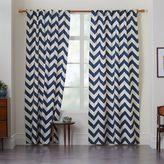 west elm Cotton Canvas Zigzag Curtain - Blue Lagoon