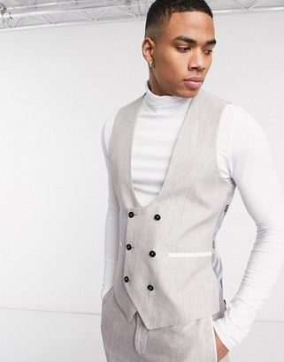 Twisted Tailor slim linen suit waiscoat in stone