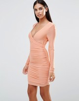 AX Paris Long Sleeve V Front Slinky Ruched Dress
