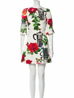 Dolce & Gabbana Floral Print Mini Dress w/ Tags White
