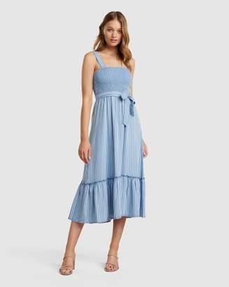 Forever New Jen Shirred Stripe Denim Midi Dress